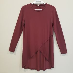 Tristan S Long Sleeve Crossover Tunic Maroon